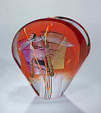 Red Evolution Sculpture by Shawn Messenger (Art Glass Paperweight)