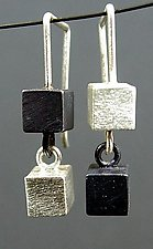 Two Box Earring by Hilary Hachey (Silver Earrings)