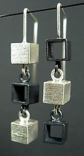 Three Box Earring by Hilary Hachey (Silver Earrings)