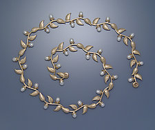 Multi-leaf Necklace with Pearls by Ellen Vontillius (Gold & Pearl Necklace)