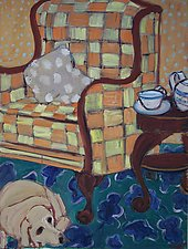 Dog and Checked Chair by Elisa Root (Oil Painting)