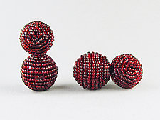 Color Pops Earrings in Ruby Red by Julie Long Gallegos (Beaded Earrings)
