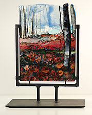 Poppies and Birch by Alice Benvie Gebhart (Art Glass Sculpture)