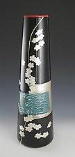 Waves and Flowers Vase by Richard S. Jones (Art Glass Vase)
