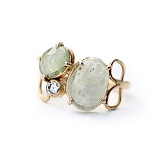Green Sapphire and Diamond Cluster Ring by Katie Carder (Gold & Stone Ring)