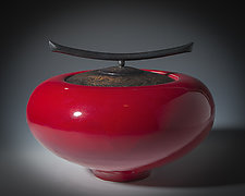 Etched Lidded Vessel in Red by Carol Green (Ceramic Vessel)