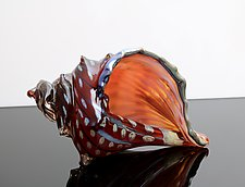 Electric Red Sea Shell by Benjamin Silver (Art Glass Sculpture)