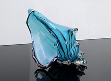 Marine Blue Sea Shell by Benjamin Silver (Art Glass Sculpture)
