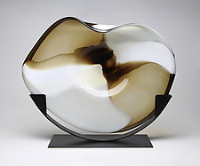 Topaz Cradle by Janet Nicholson and Rick Nicholson (Art Glass Sculpture)