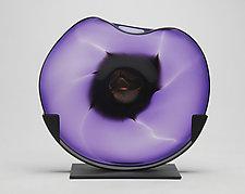 Amethyst Dichroic Cradle by Janet Nicholson and Rick Nicholson (Art Glass Sculpture)