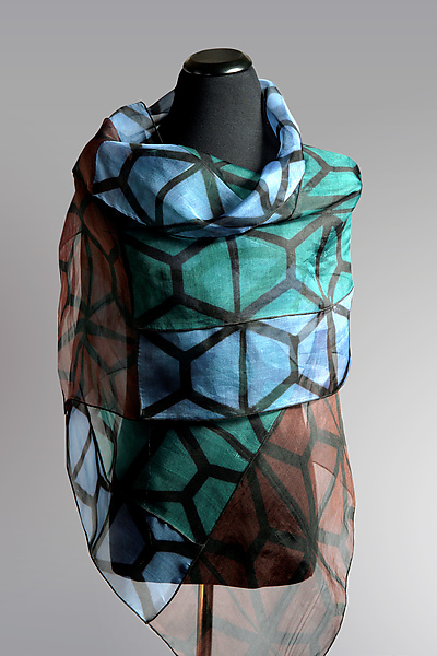 Silk Organza Graphic Wrap in Blue, Teal, Brown