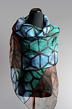 Silk Organza Graphic Wrap in Blue, Teal, Brown by Suzanne Bates  (Silk Scarf)