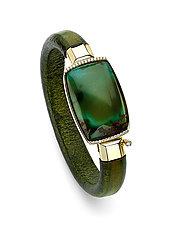 Chinese Turquoise Leather Bracelet by Pamela Huizenga  (Gold, Leather & Stone Bracelet)