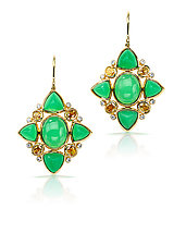 Chrysoprase and Diamond Earrings by Pamela Huizenga  (Gold & Stone Earrings)