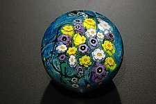 Landscape Seres Paperweight Daisy, Hippie Daisy, Violet by Shawn Messenger (Art Glass Paperweight)