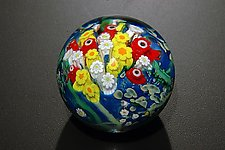 Landscape Series Paperweight Poppy, Hippie Daisy, Double White by Shawn Messenger (Art Glass Paperweight)