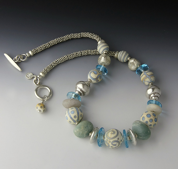 Aqua and Ivory Race Point Necklace