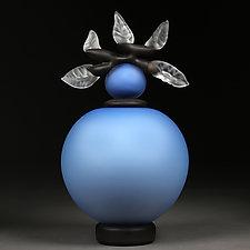 Novi Zivot (New Life) Satin Cerulean Sphere by Eric Bladholm (Art Glass Sculpture)