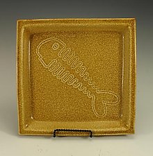 Fish Tray Squared with Yellow Ash Glaze by Lance Timco (Ceramic Tray)