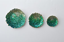 Circular Glass Triptych by Mira Woodworth (Art Glass Wall Sculpture)