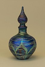 Blue Nouveau Perfume Bottle by Carl Radke (Art Glass Perfume Bottle)