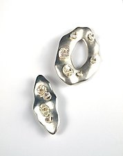 Keshi Pearls on Satin Sterling Pins by Virginia Stevens (Silver & Pearl Brooch)