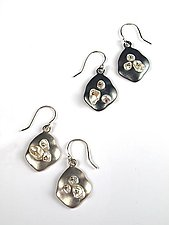 Keshi on Satin Sterling Earrings by Virginia Stevens (Silver & Pearl Earrings)