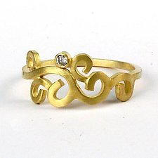 Wrought Single Stone Ring by Natasha Wozniak (Gold & Stone Ring)