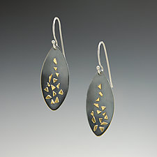 Confetti Concave Oval Earrings by Dean Turner (Gold & Silver Earrings)