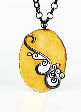 Oval Inlay Bimetal Pendant by Natasha Wozniak (Gold & Silver Pendant)