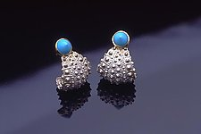 Caribbean Curl Blue by Hratch Babikian (Silver & Stone Earrings)