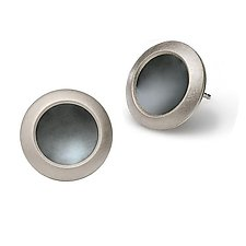 Button Earrings with Oxidized Centers by Karen and James Moustafellos (Silver Earrings)