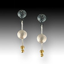 Night, Silver & Gold Pebble Earrings by Susan Mahlstedt (Gold & Silver Earrings)