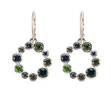 Circle Wreath Earrings in Green by Jessica Fields (Gold & Stone Earrings)
