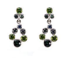 Small Teardrop Wreath Earrings in Green by Jessica Fields (Gold & Stone Earrings)