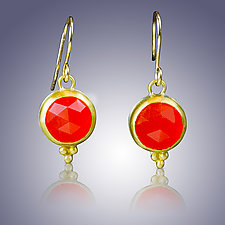 Rose Cut Carnelian Earrings by Nancy Troske (Gold & Stone Earrings)