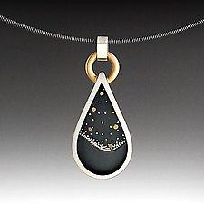 Teardrop Nightscape by Susan Mahlstedt (Gold & Silver Necklace)