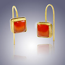 Carnelian Square Cut Earrings by Nancy Troske (Gold, Silver & Stone Earrings)