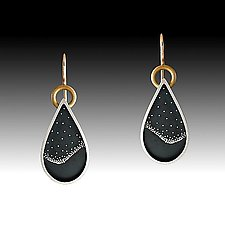 Teardrop Nightscape Earrings by Susan Mahlstedt (Gold & Silver Earrings)