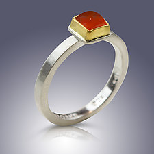 Carnelian Square Cut Ring by Nancy Troske (Gold, Silver & Stone Ring)