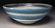 Blue Stripe Bowl by Nicholas Bernard (Ceramic Bowl)
