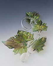 Quintuple Glass Leaf Sculpture in Green by Jacqueline McKinny (Art Glass Sculpture)