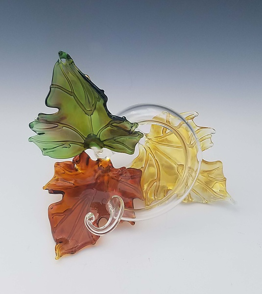 Trio Glass Leaf Sculpture in Multi