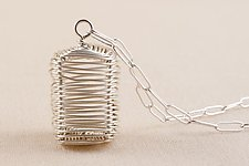 Sterling Cube Pendant by Kathy Frey (Silver Necklace)