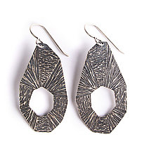 Striations Earring 1 by Erica Stankwytch Bailey (Silver Earrings)