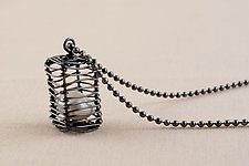 Caged Pearl Cube Pendant by Kathy Frey (Silver & Pearl Pendant)