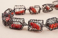 Caged Coral Linked Cubes Necklace by Kathy Frey (Silver & Coral Necklace)