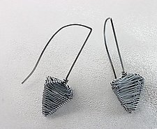 Oxidized Pyramid Sculpture Hooks by Kathy Frey (Silver Earrings)