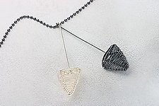 Black Silver Double Pyramid Pendant by Kathy Frey (Silver & Polymer Necklace)