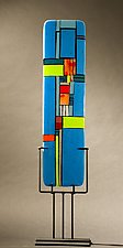 Windows II Blue by Vicky Kokolski and Meg Branzetti (Art Glass Sculpture)